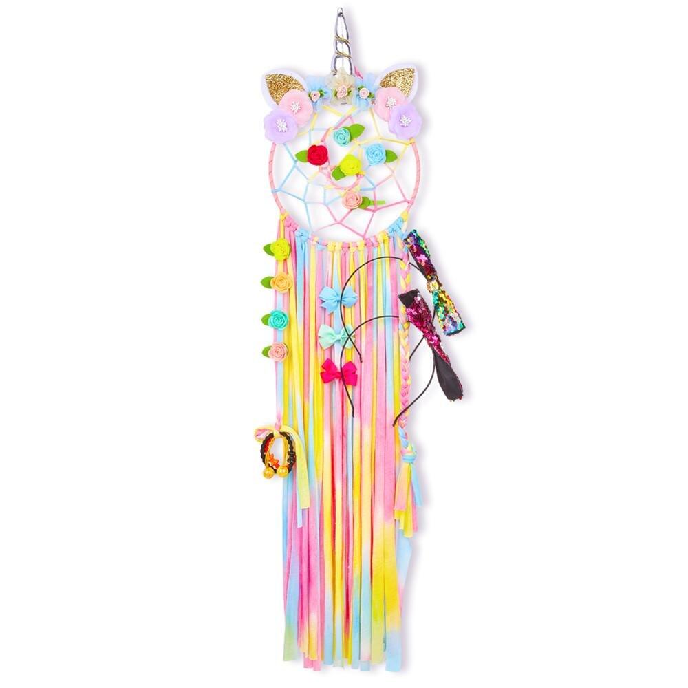 Fioday, correa de almacenaje con lazo de unicornio para niñas, diadema redonda, organizador para niños, pinzas para el pelo de arco iris, herramientas DIY
