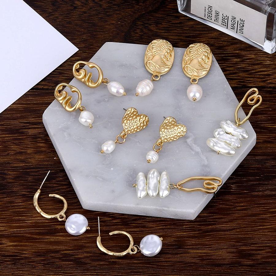 22 diseños bohemio pendientes colgantes de perlas para mujeres 2019 Brincos larga con estampado geométrico pendiente pendientes de oro Vintage mujer joyería regalos
