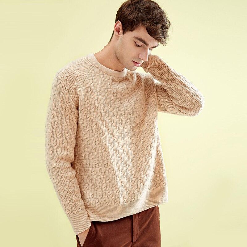 ZHILI 2018 nuevo Otoño Invierno cuello redondo Beige Cachemira suéter