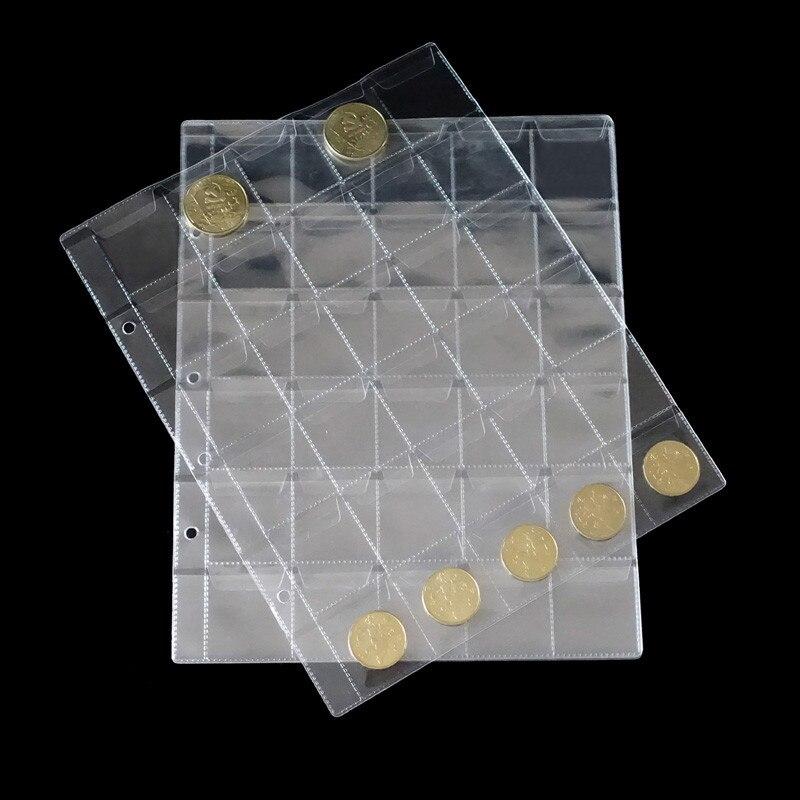 30pcs New 20/30/42 pockets Plastic Album Page For Coin Holders Storage Collection Money Album Case