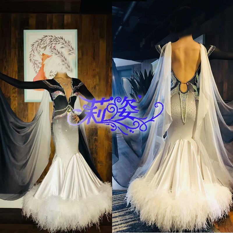 Todos los días de baile vals Tango Quickstep baile vestido de traje-vestido de baile de salón Blanco de plumas de avestruz vestido de baile de salón