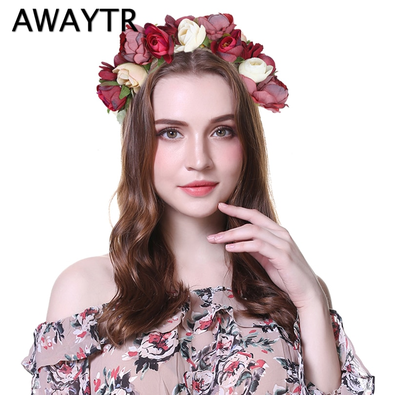 Adornos para el cabello AWAYTR 2019, flores de boda, novia, fiesta de corona Floral, cuerda de cáñamo, decoración de corona de princesa, tocado de primavera