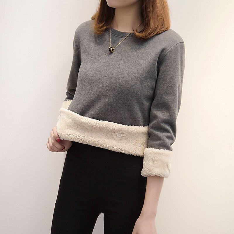 Lamb Cashmere Thick Warm Sweatshirt Female Head Winter Loose Plus Velvet Lamb Hair Hoodies Femme Warm Solid Color Tops MZ3172