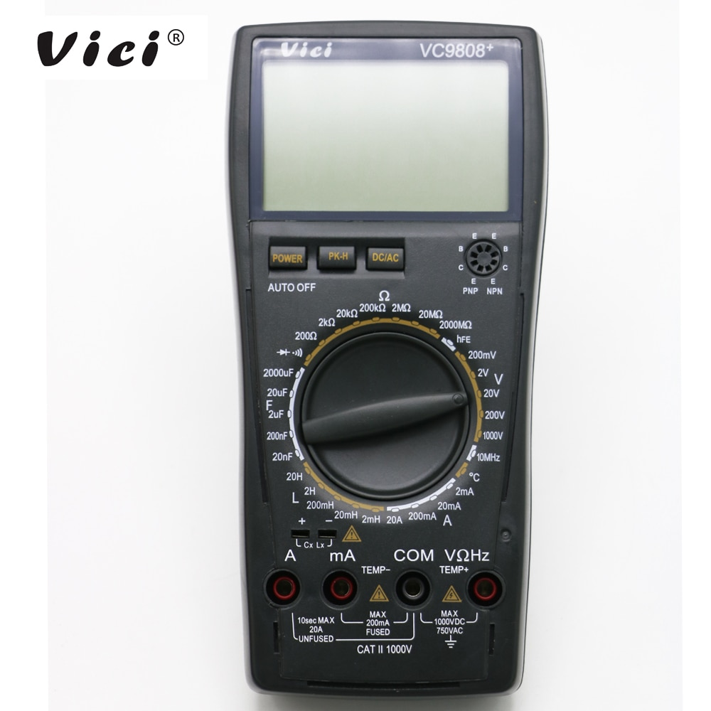 VICI VC9808+ LCD display digital Multimeter Electrical Meter Inductance Res Cap Freq Temp AC/DC Ohmmeter Inductance Tester