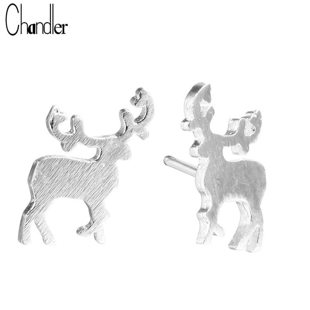Pendiente pequeño de ciervo Sika para mujeres Animal Pendientes Plat cepillado encanto Navidad Fiesta joyería regalo