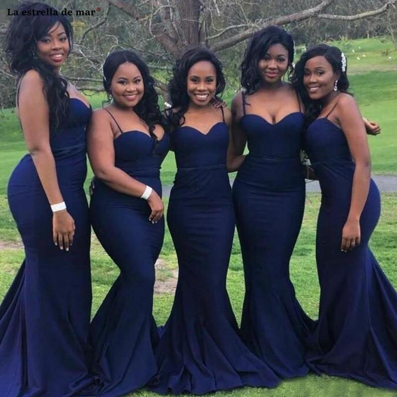 Vestido de fiesta de boda nuevo satén Spaghetti Straps halter azul marino africano dama de honor vestido de cola vestidos de madrina