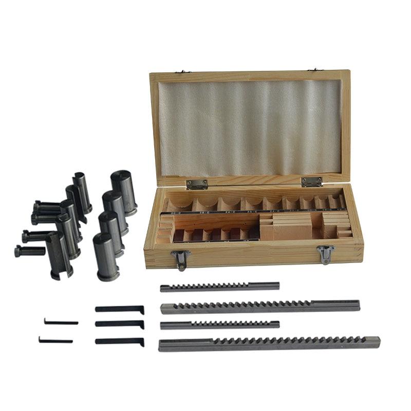 22pc keyway broach cortador + 6pc ferramenta de corte broach & bucha & shim junta conjunto cnc ferramenta de metalurgia centro