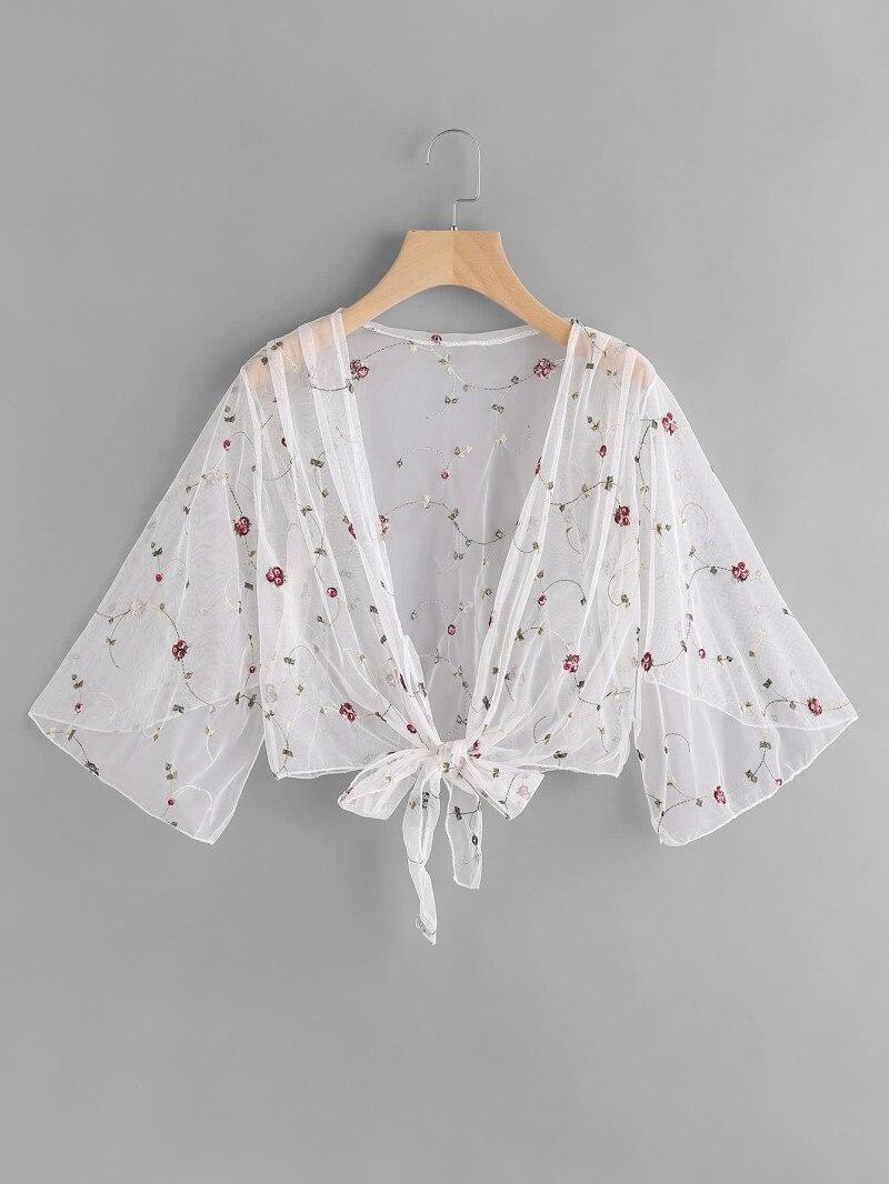 Sexy sheer malha protetor solar camisa transparente t camisa feminina manga larga bordado floral t superior das senhoras do vintage t-shits