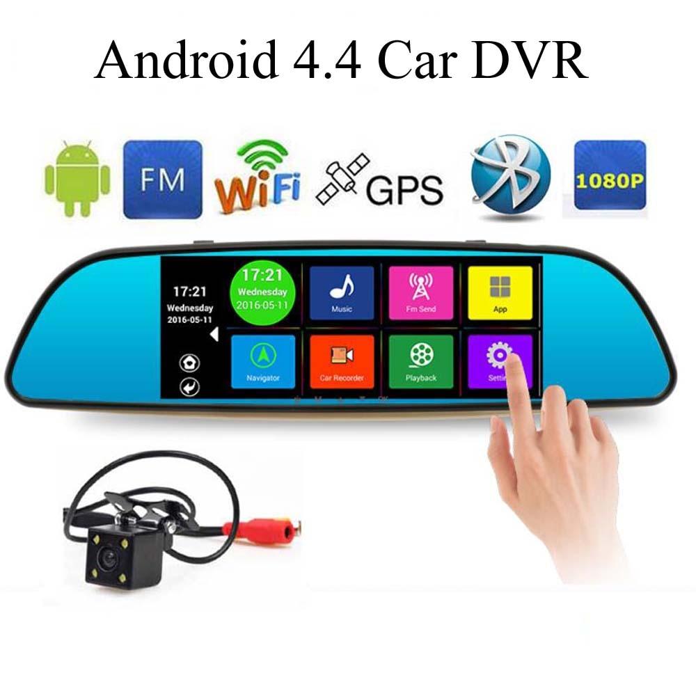 Cámara WiFi Bluetooth espejo retrovisor 7 pulgadas especial Android 4,4 coche DVR Full HD 1080P FM mapa actualización libre ROM 16GB lente Dual