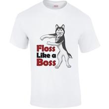 Para hombre damas hilo dental como un jefe Husky Siberiano camiseta fort baile blanco Tee envío gratis Harajuku