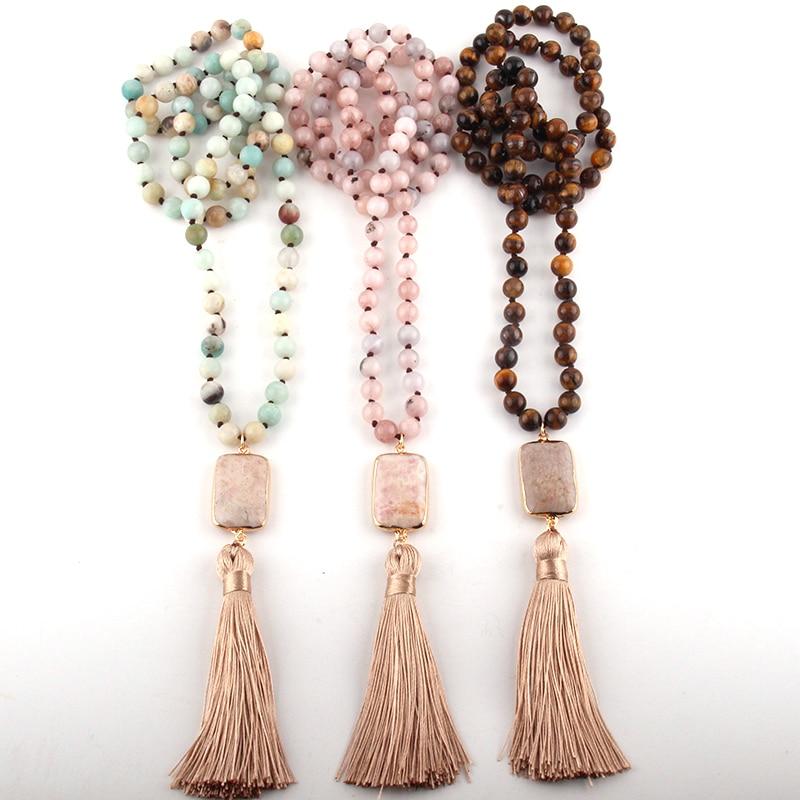 Moda jóias tribais boêmio pedra natural atada pedra link bege borla colares feminino colar étnico