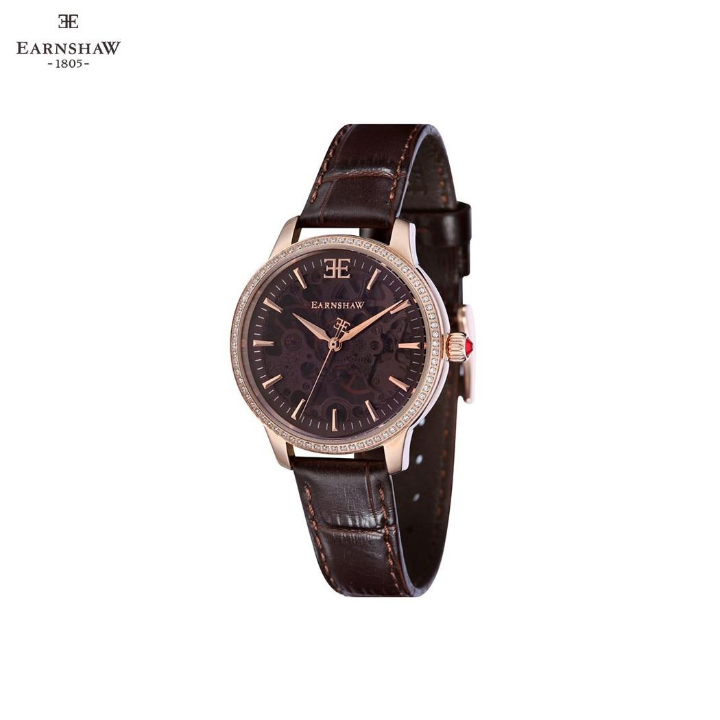 Наручные часы Earnshaw ES-8056-03 женские механические с ручным заводом на кожаном ремешке
