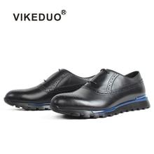 VIKEDUO 2019 nouvelles baskets pour hommes plaine noir décontracté en cuir de veau chaussures Brogue patine à la main pour hommes chaussures de sport chaussures légères