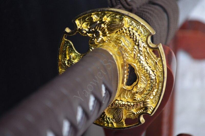 Hoja de acero al carbono 1060 hecha a mano espada de NINJA vaina de madera y mango puede cortar árbol de bambú