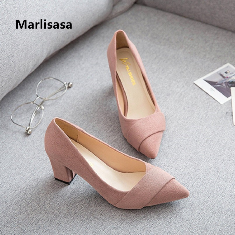 Marlisasa Femmes Hauts Talons Women Fashion Sweet Comfortable Square High Heel Pumps Spring & Summer Black High Heel Shoes F3417