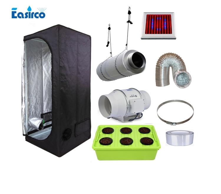 Hydropoinics كاملة داخلي تنمو خيمة أطقم 80x80x160 سنتيمتر مع DWC دلو ، الصمام تنمو ضوء و معدات التهوية