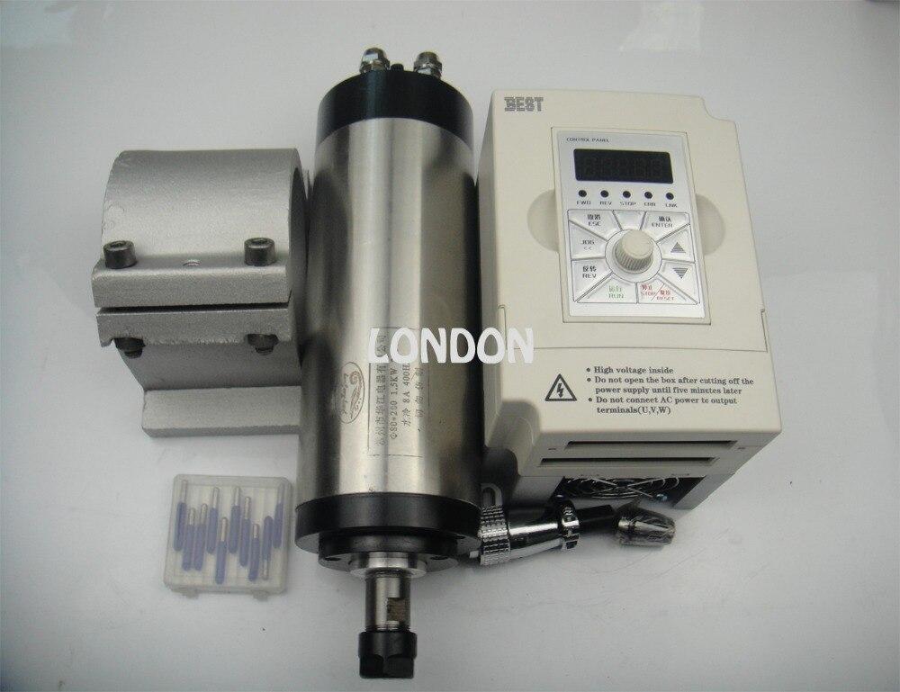 ER16 80mm diámetro 220V refrigeración por agua 1,5 kW husillo con 4 piezas rodamiento para cncmachine + 1,5 kW VFD + soporte + brocas de grabado cnc