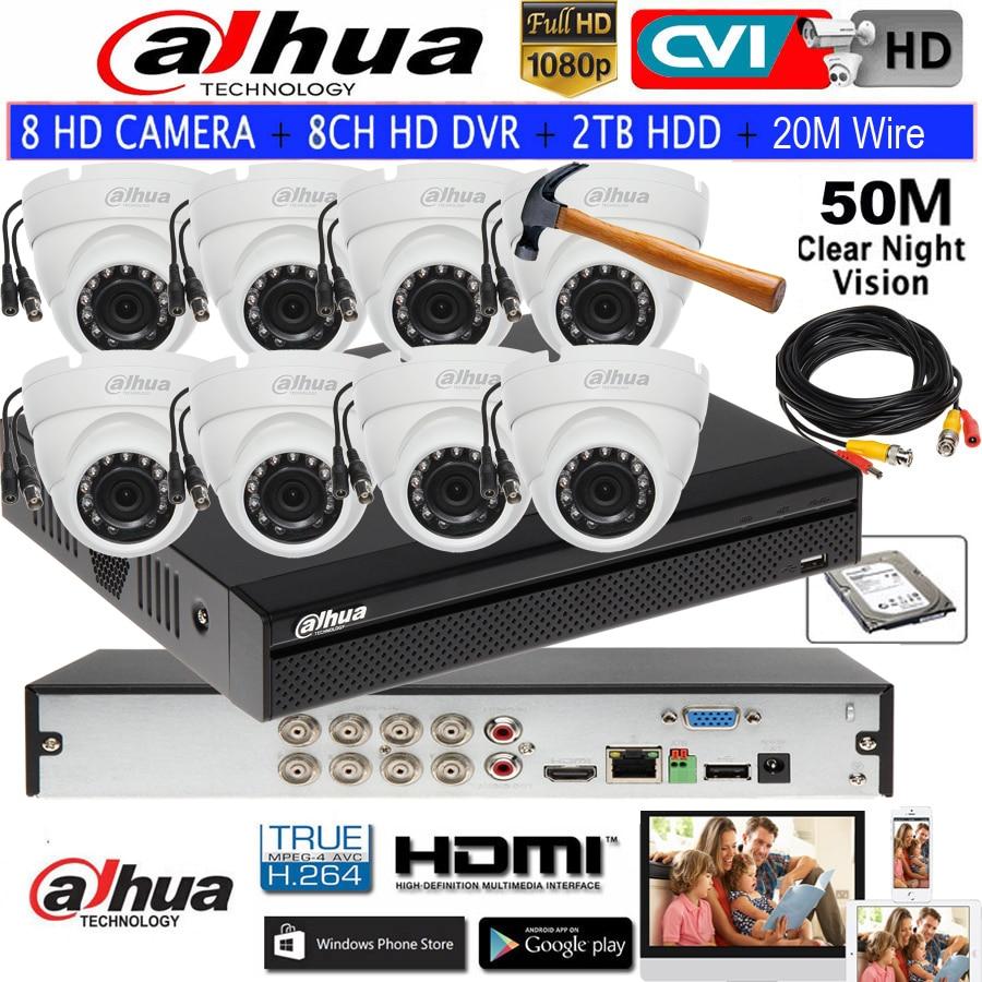 Cámara domo HDCVI original Dahua 8Ch vigilancia CCTV HD 1080P DVR DH-XVR5108HS-X sistema de seguridad con 8ch 1080P IR 20M al aire libre
