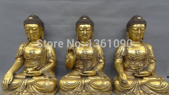 """Xd 00961 18 """"Tíbet Budista de Bronce Dorado 3 Amitayus Estatua de Buda Shakyamuni Joss Set"""