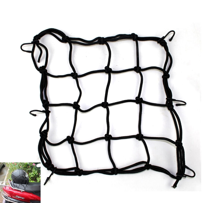 Negro Red de equipaje para motocicleta bicicleta ATV Bungee casco y tanque Web cordones malla para sujetar carga gancho Tuck neto bolsa de cuerda 30x 30cm