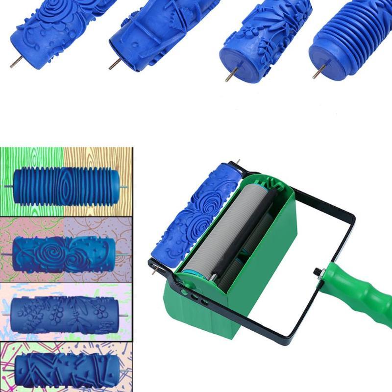 De goma DIY DE RELIEVE rodillo de pintura de decoración de la pared de la herramienta de pintura textura pincel plantillas