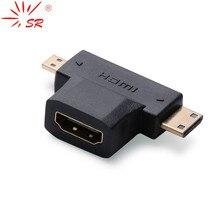 Adaptateur convertisseur vidéo SR 3 en 1 1080 P 1.4 V plaqué or Micro HDMI/Mini HDMI mâle vers HDMI femelle connecteur de câble combiné pour HDTV