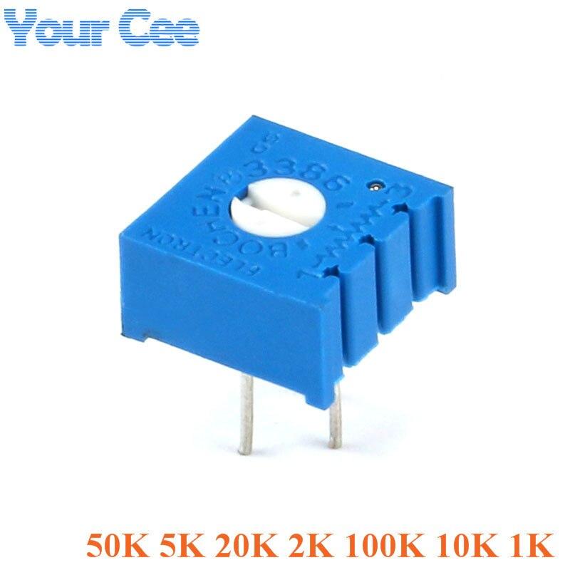10 шт. 3386 триммера потенциометра 3386P переменный резистор Регулируемое сопротивление 1K 10k 100k 2k 20k 5k 50k
