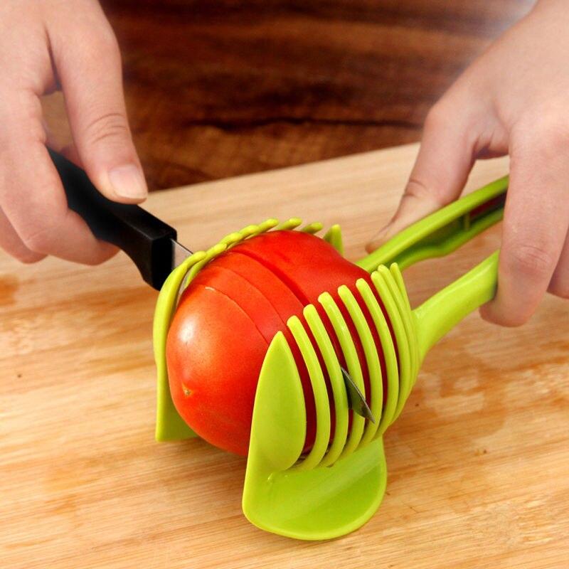 1 ud. Rebanador de tomate herramienta de cortador de frutas de plástico cortador perfecto cortador de cebolla de tomate y patata soporte para cortar limón