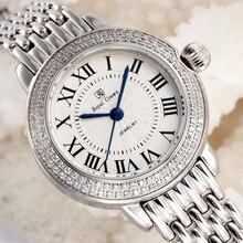 Cristal saphir montre pour femme Fine Ronda Movt All Bracelet acier inoxydable dame heure cadeau fille horloge rétro couronne royale