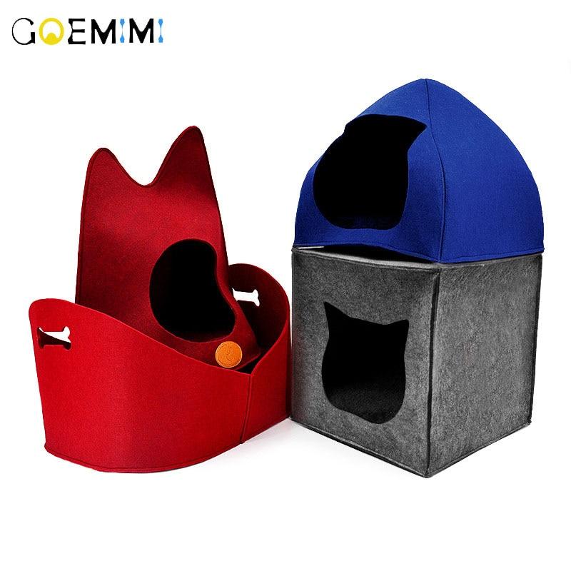 Gatos domésticos cama sentía Puppy 4 Forma de gato perrera casa cálido nido de gato para gato cama para cachorro de perro de calidad superior de la casa para gatos