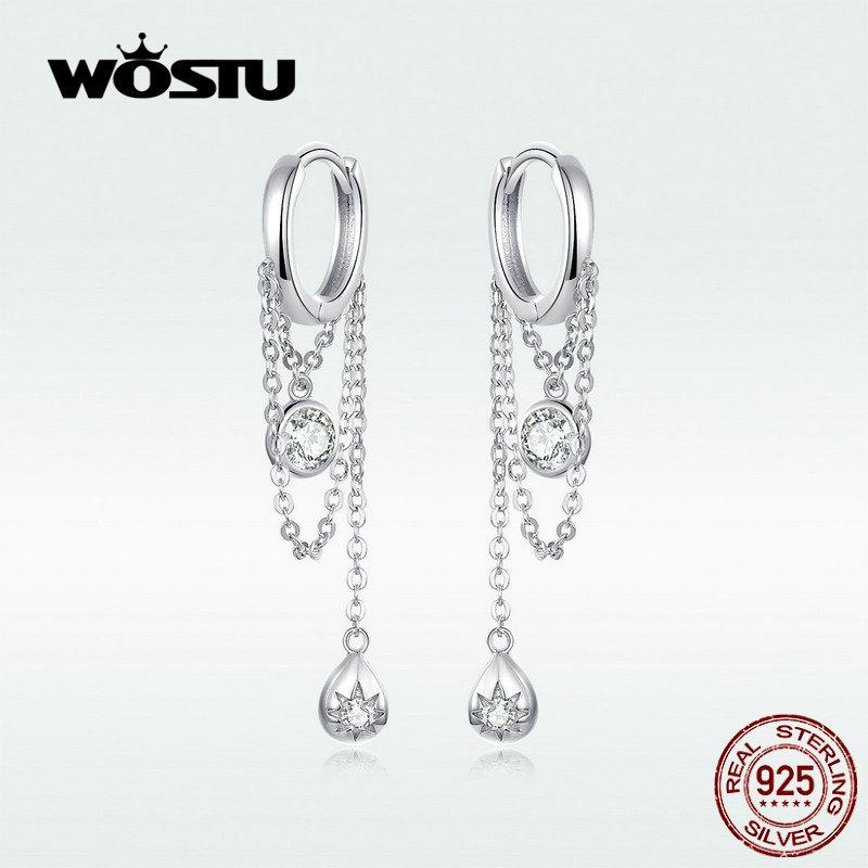 Pendientes de circonio transparente de Plata de Ley 925 para mujer, pendientes de estilo Simple, joyería de moda para boda DXE638