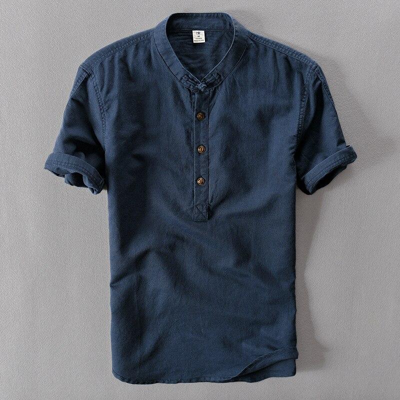 Мужская рубашка с коротким рукавом, свободная, тонкая, хлопковая, льняная, однотонная, с o-образным вырезом, Новинка лета 2019