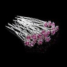 20 sztuk/partia dziewczyny Bridal Crystal Diamante Flower Rose szpilka wsuwki do włosów kije włosów Braider Wedding Styling Tools akcesoria