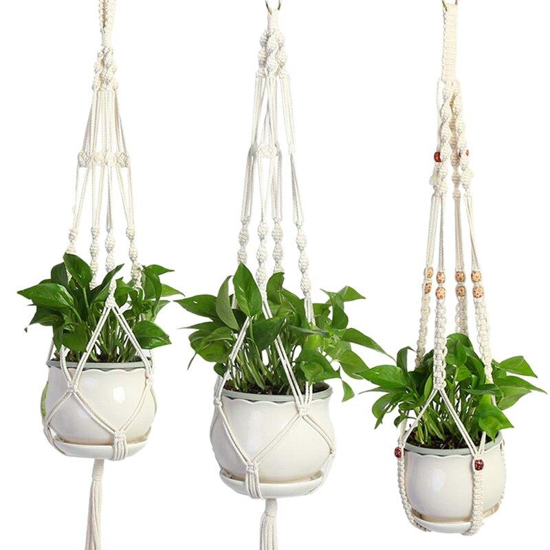 Macrame Plant Hanger Kit,3 Pack Wall Ceiling Hanging Planters Jute Rope Basket Holder For Indoor Outdoor Succulent Potted,Vine