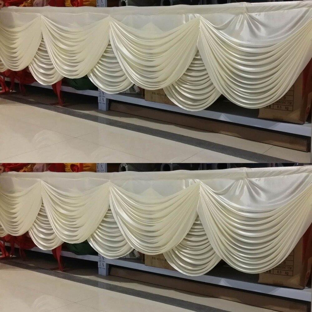 ستائر خلفية بيضاء فاخرة للزفاف ، غنيمة ، سلم قطرات لحفلات الزفاف ، تنورة طاولة ، زخرفة مفرش المائدة
