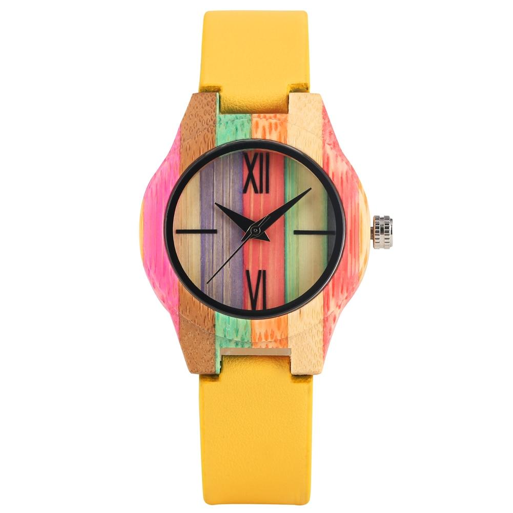 Montre femme bracelet en cuir jaune montres étui de bambou coloré montre pour femmes filles Quartz analogique bambou montre-bracelet