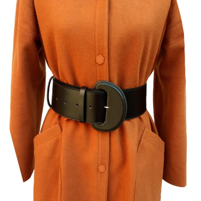 Vintage leather Wide Big buckle Belts for Women Dress Decorative New Fashion Leather Black Belts Metal Hook Buckle accessories