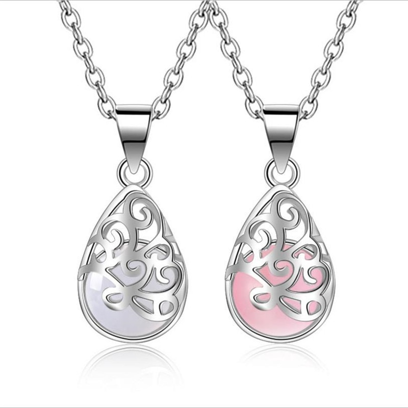 TJP Top Quality 925 Sterling Silver Women Choker Necklace Jewelry Fashion Lady Pink Crystal Female Pendants Necklaces Gift