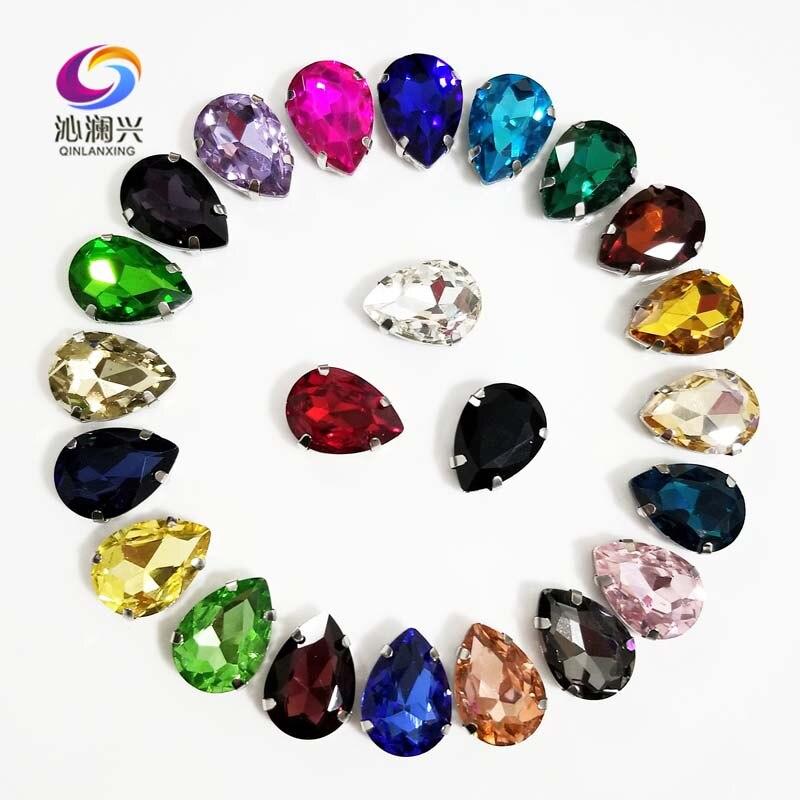 Mezcla de colores plata base forma de lágrima de alta calidad cristal para coser diamantes de imitación en base de garra con agujeros, accesorios de ropa Diy