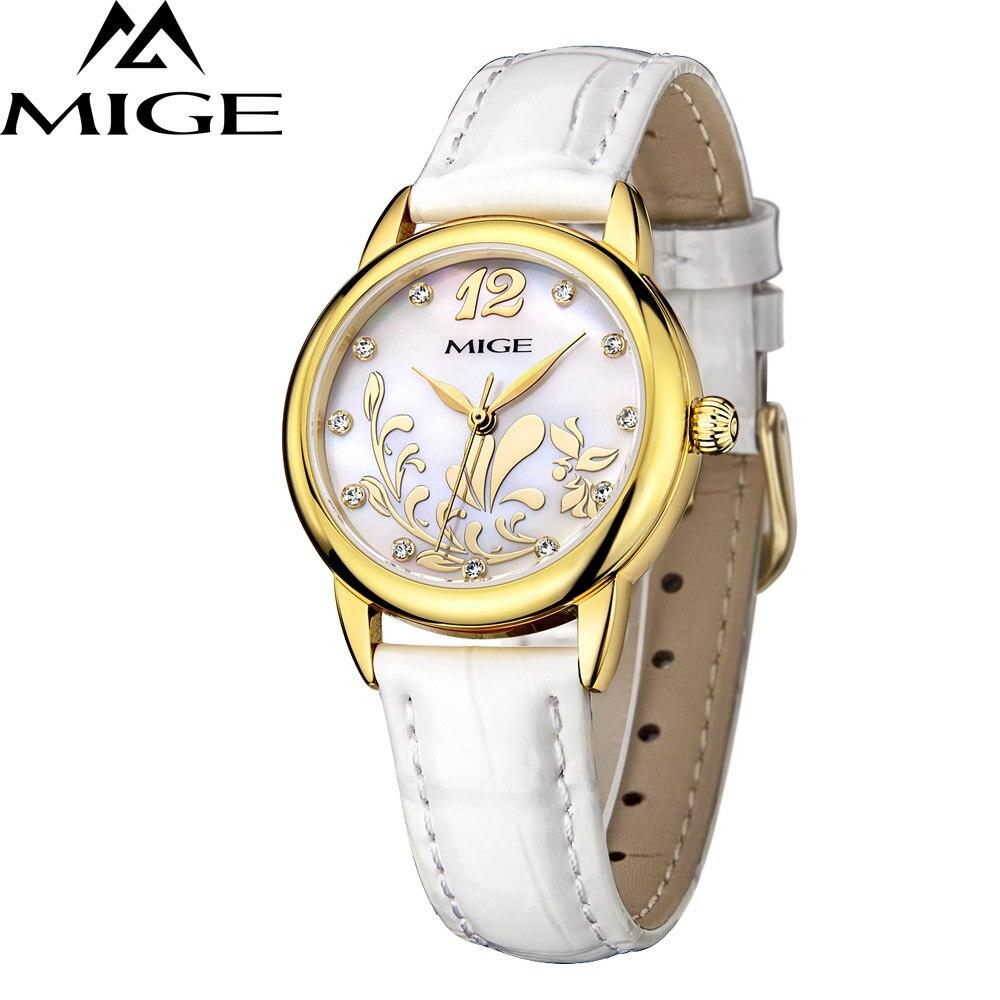 Banda de Couro Relógio à Prova Marca Superior Mige Negócios Moda Aço Case Branco Japão Movimento Senhoras Dwaterproof Água Relógios Quartzo Feminino 2021