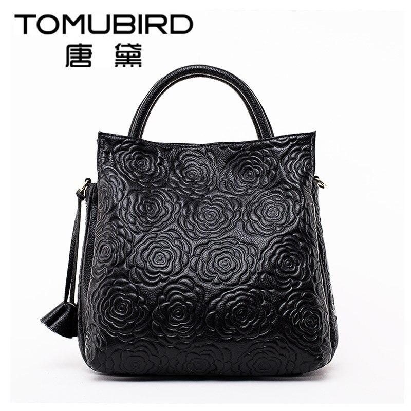 Bolso de marca TOMUBIRD para mujer, bolso de cuero con rosas genuino, bolsos de hombro con relieve para mujer, bolsos de mensajero de moda para mujer, bolso de noche