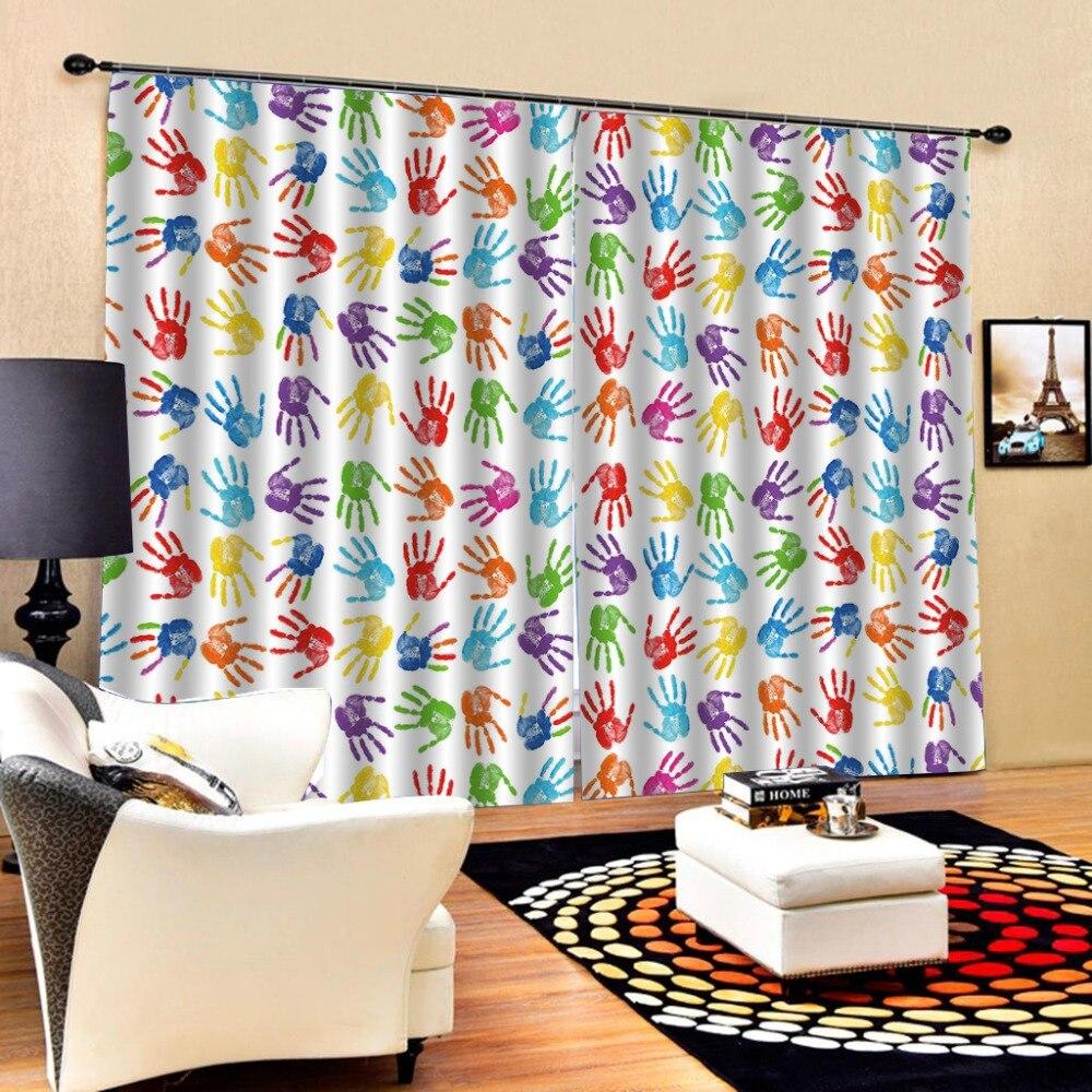 Qualquer tamanho Handprint cortinas blackout cortinas sala de estar cortinas da janela do quarto dos miúdos preto fora da janela cortinas