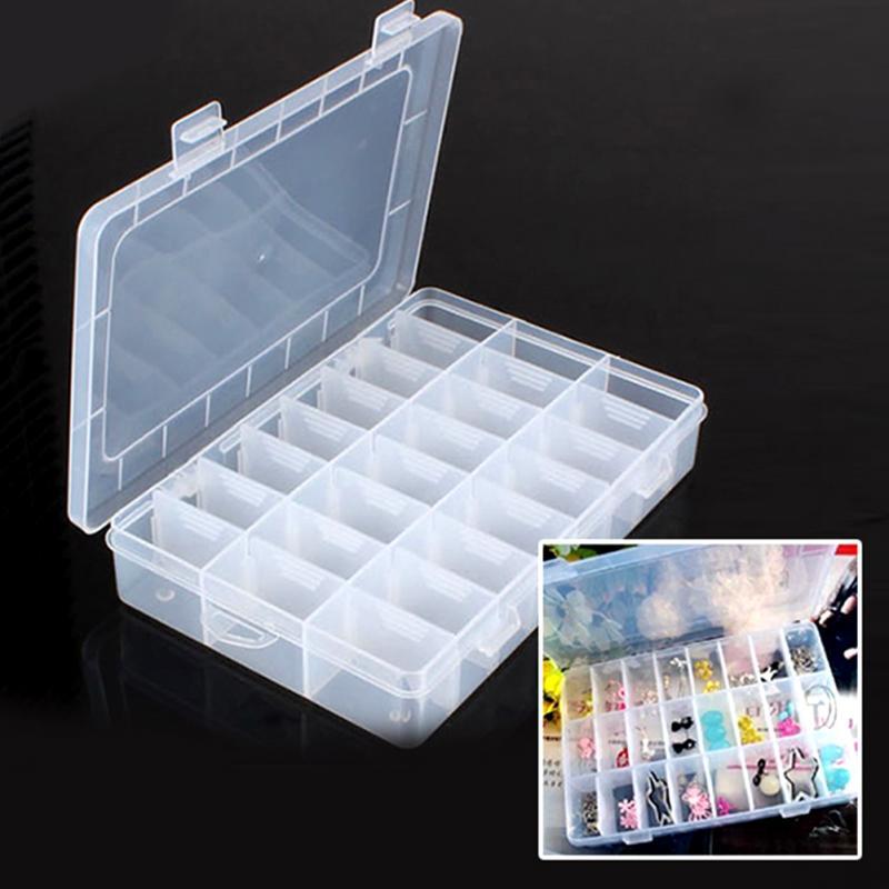 Leben Ätherisches 24 Fach Lagerung Box Praktische Einstellbare Kunststoff Fall für Perle Ringe Schmuck Display Veranstalter