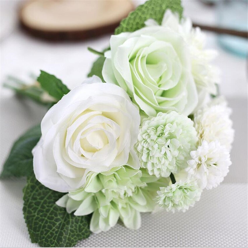 High Quality fleurs artificiel 10 heads/bouquet Roses Dahlias Artificial Flowers fake flowers Wedding Home Party Decoration