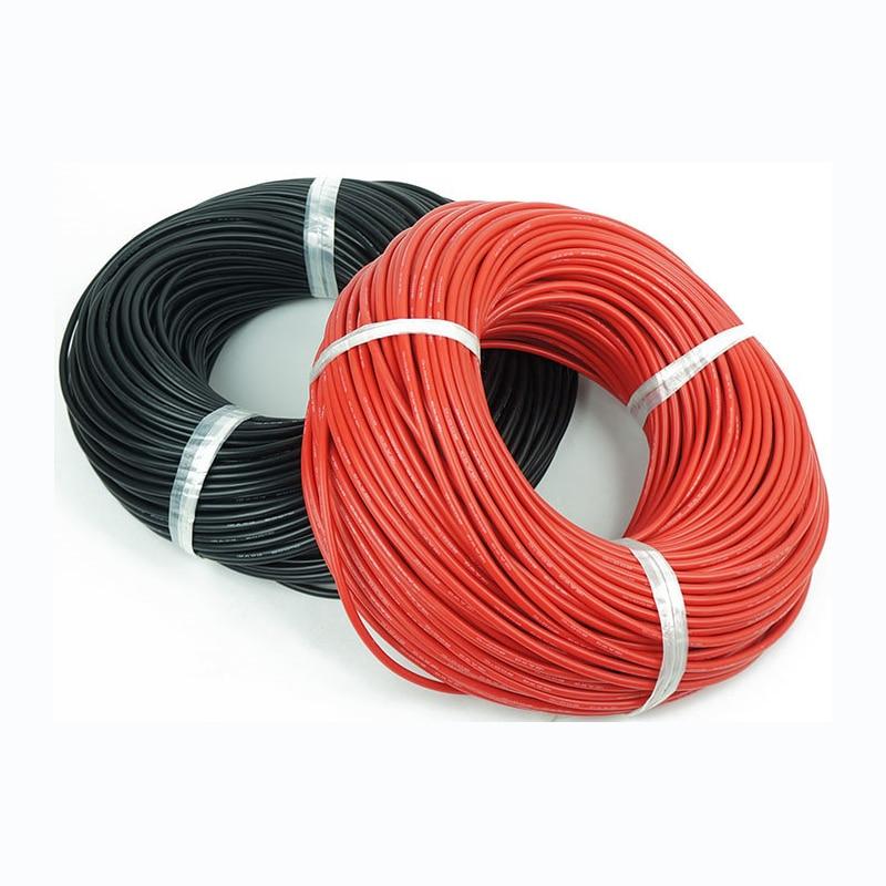 1 метр красный + 1 метр Черный силиконовый провод 6AWG 7AWG 8AWG 10AWG 12AWG 14AWG 16AWG 18AWG 22AWG теплостойкий мягкий силиконовый кабель силикагель