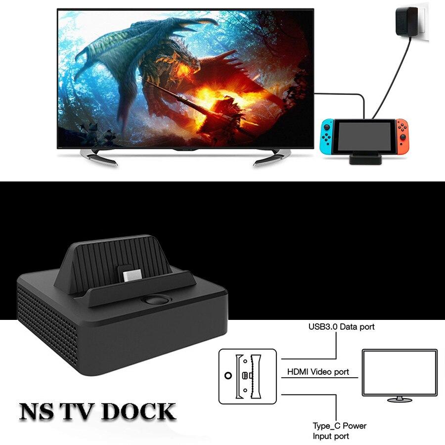 Nintend switch console conversor de vídeo portátil mini hdmi tv substituição doca estação carregamento carregador para ns nintendo switch