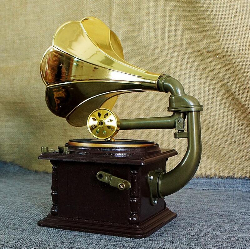 Cajonera clásica retro fonógrafo caja de música Regalo De chico modelo artesanal hecho a mano para el hogar barra de café adornos Decoración