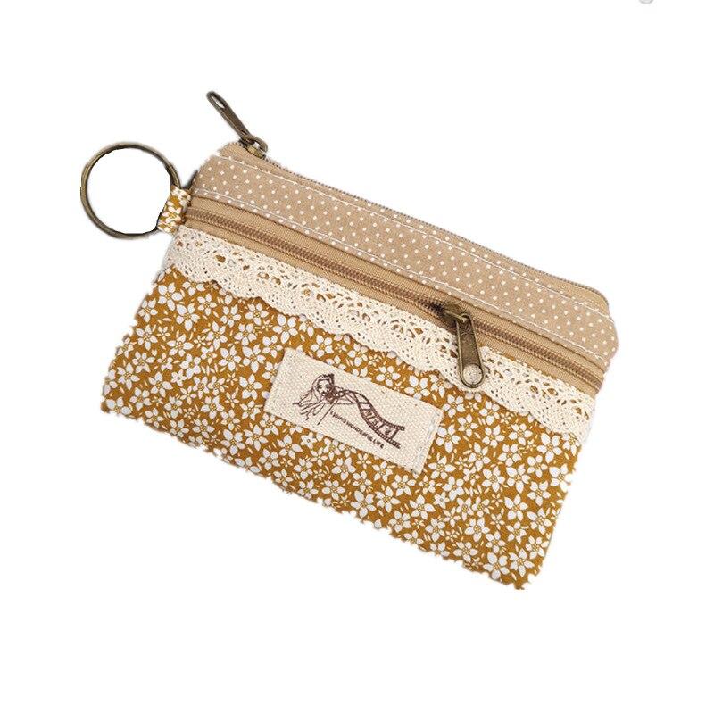 Monedero de algodón de Estampados de flores para mujer, monedero de señora, bolso de mujer, monedero pequeño, bolso de mujer, bolsa femenina para chicas