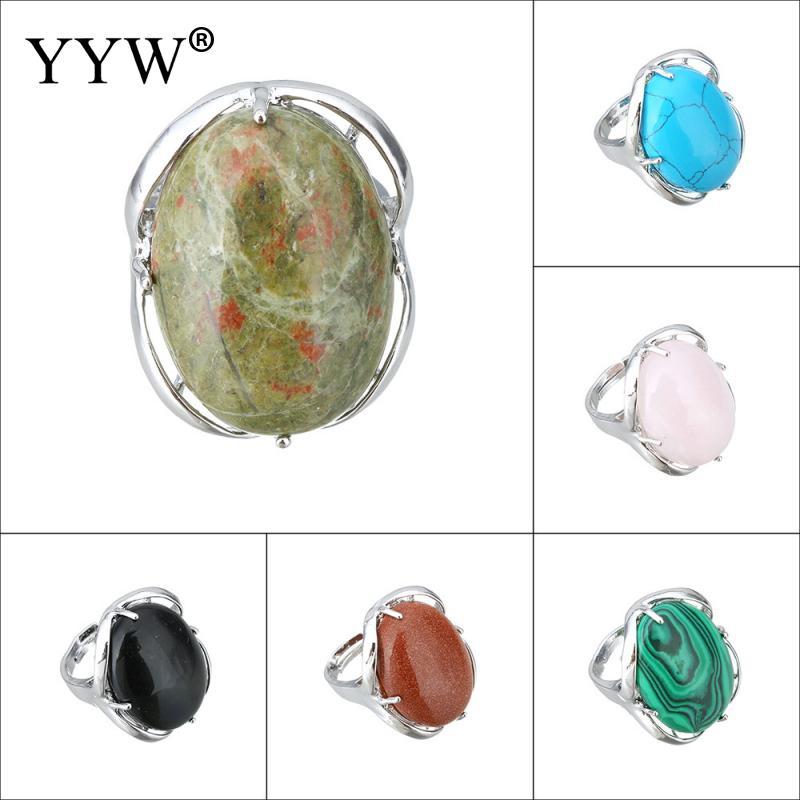 Yyw mulheres unakite olho de tigre ametistas malaquita pedras naturais anel de dedo oval geométrico charme ajustável midi completa anéis