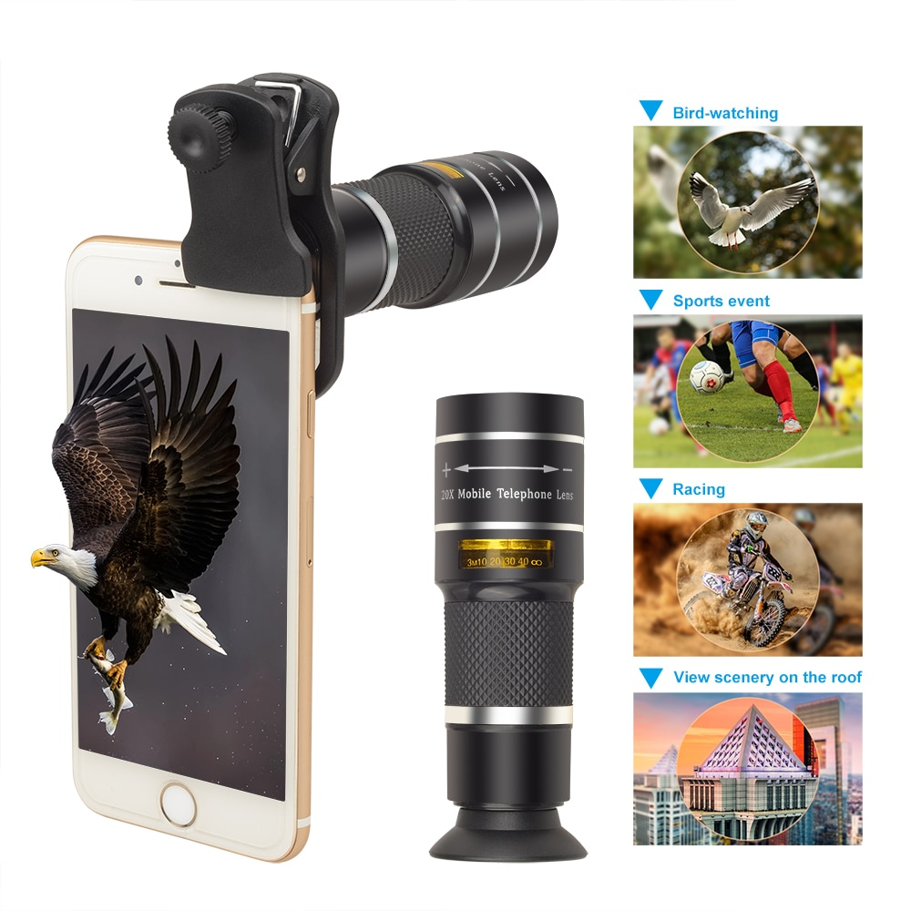 Profissional lente Óptica 20X monocular Telescope Telephoto lente da câmera Do Telefone para o iphone X 7 8 plus Xiaomi smartphone HTC